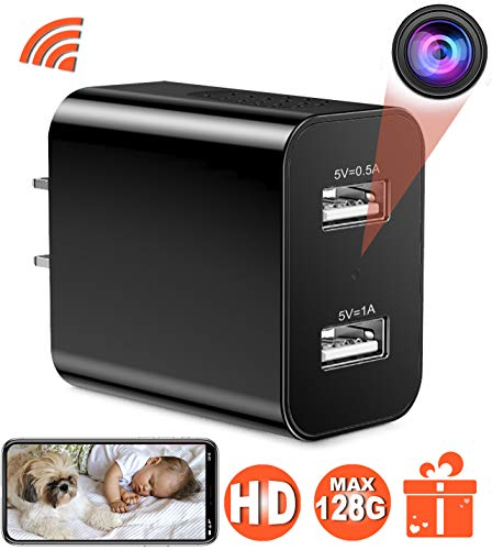 ([Upgraded 2019] Spy Hidden Camera with Remote Viewing, USB Charger WiFi Nanny Camera 1080P HD H.264 with Motion Detection for Home Office Security Surveillance, No Audio)