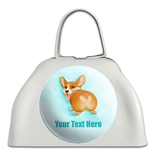 Personalized Custom Corgi Butt 1 Line White Metal Cowbell Cow Bell Instrument]()