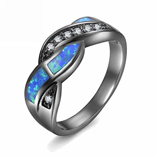 MGIE Blue Fire Opal Women Men Fashion Black Gold Plated Wedding Engagement Twisted Crisscross Rings for Couples Size 5-12 ()