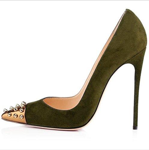 Ruanlei@Sexy de Tacones Altos/Clásicas Tacones Altos/fashion - Cerrado Mujer/Tacones de Charol ElegantesElegante y versátil Yu Ding alto talón zapatos mujer ArmyGreen