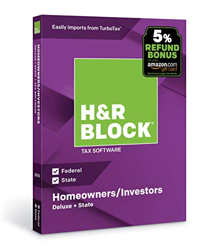 Software : H&R Block Tax Software Deluxe + State 2018 with 5% Refund Bonus Offer