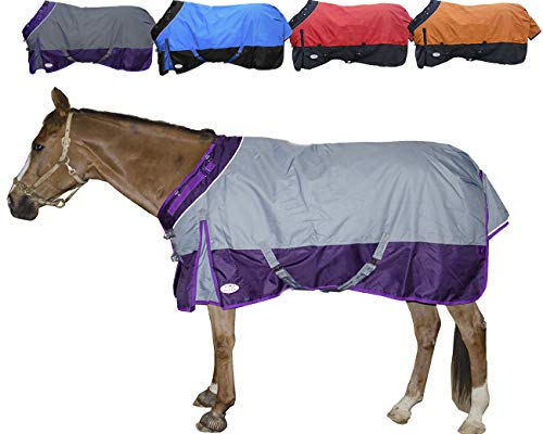 - Derby Originals Windstorm Series Reflective Safety 1200D Ripstop Waterproof Nylon Horse Winter Turnout Blanket with 300g Insulation - Two Year Limited Manufacturer's Warranty, Grey/Purple