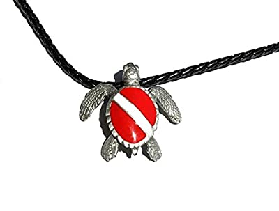 """Pewter Ocean Theme Scuba Dive Diving Hand Crafted Pendants on 18"""" Braided Cord Necklace Jewelry Turtle Shark Eel Dolphin Stingray"""