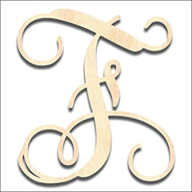 Back40Life - Precision Cut Vine Wood Monogram Letter - 13-inch Unfinished F