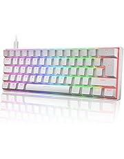 60% Mechanical Gaming Keyboard Mini Portable with Rainbow RGB Backlit Full Anti-Ghosting 61 Key Ergonomic Metal Plate Wired Type-C USB Waterproof for Typist Laptop PC Mac Gamer (White/Blue Switch)