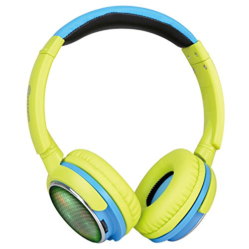 Contixo KB-300 Kid Safe 85DB Over The Ear Wireless Bluetooth LED Headphone with Volume Limiter, Built-in Microphone, Micro SD, FM Stereo Radio, Audio Input, Green + Blue