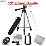 Zeikos 50'' Inch Aluminum Camera Tripod Kit, with Bubble Level Indicator, Comes with Bluetooth Remote Control Camera Shutter, Smartphone - GoPro Mount and Carrying Bag