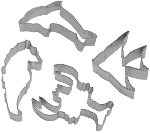 4 Piece Dolphin Lobster Seahorse Cookie Cutter Set Sea Life Ocean Beach