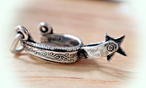 Sterling Silver 20x10mm Movable Rodeo Cowboy Horse Western Boot Star Spur Charm Vintage Crafting Pendant Jewelry Making Supplies - DIY for Necklace Bracelet Accessories by CharmingSS