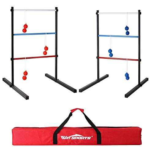 Win SPORTS Outdoor Metal Ladder Toss Game Set - Premium Ladderball Steel Includes 6 Soft Ball Bolas and Durable Carry Bag
