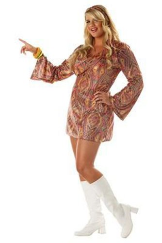 California Costumes Go Sexy 60s 70s Disco Dress Retro Costume PLUS SIZE (Plus Size Holloween Costume)