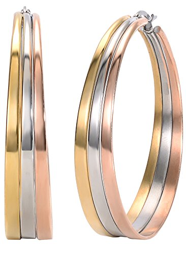 (Jstyle Jewelry Surgical Stainless Steel Tri-color Big Hoop Earrings for Women (50mm Diameter) )