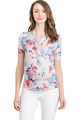 - LaClef Women's Short Sleeve Surplice Maternity Nursing Top (Small, Cream Floral)