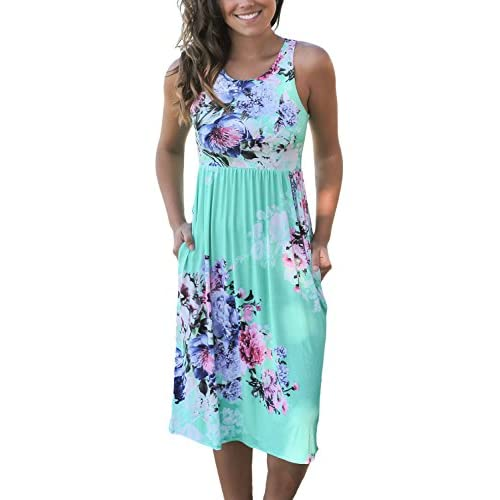 Cheap Dokotoo Womens Summer Casual Floral Print Midi Dresses (S-XL)