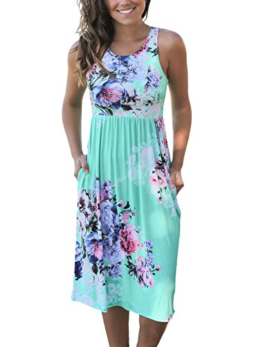 Dokotoo Womens Graduation Fit and Flare Casual Beach Floral Flower Midi Sun Dresses Plus Size Green X-Large