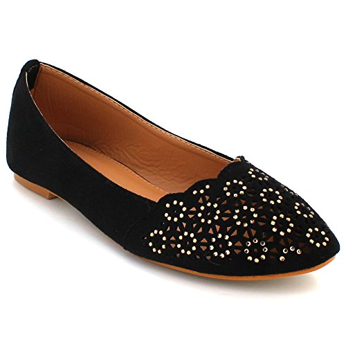 AARZ LONDON Womens Ladies Diamante Closed Toe Ballet Casual Comfort Flat Ballerina Pump Slip-On Shoes Size Black