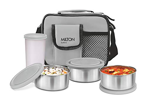 MILTON Stainless Steel Combi Lunch Box with Tumbler (4-Pieces, Grey)