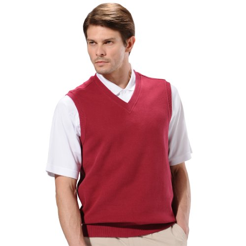 Monterey Club Mens Classic French Rib Knit V-Neck Vest #1782 (Classic Golf Sweater)