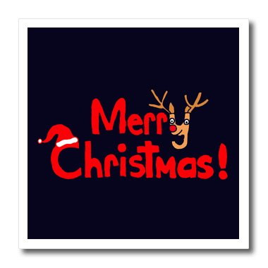 (3dRose ht_200583_1 Fun Christmas Letters and Reindeer Art Original Iron on Heat Transfer for White Material, 8 x 8)