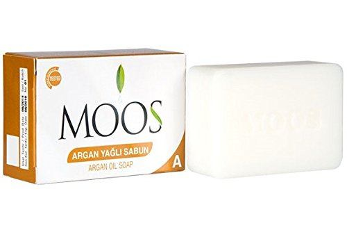 MOOS Argan Oil Soap Pack of 3 Antiaging Antioxidant Exfoliating Nourishing Face&Body Moisturizer & Wash, Dry Foot Remedy, Dry Skin Remedy, Dry Nail&Cuticle Remedy