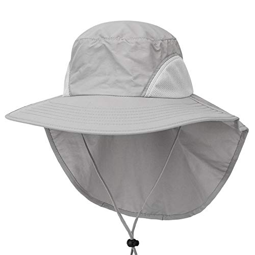 Loosebee Women & Men Outdoor Sun Hat UV Protection Fishing Hiking Caps with Face Neck Flap Cover Light Gray