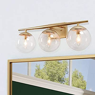 KSANA Gold Bathroom Light Fixtures, Modern Bathroom Lights Over Mirror, 3 Light Bathroom Vanity Light fixtures with Clear Globe Glass Shades and Taper Arm