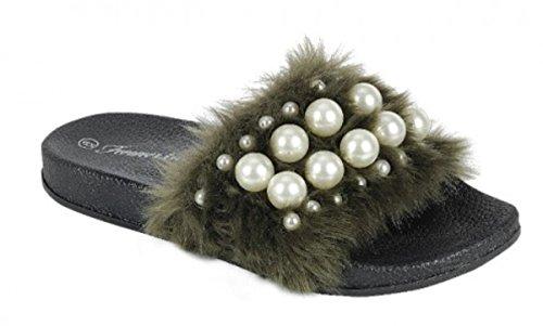 Dev Womens Warn Faux Foderato In Pelliccia Casual Slip On Flat Flip Flop Pantofole Moccasion Slider Scarpe Sandalo Mule Oliva-b