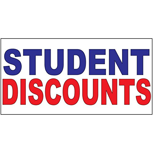 Student Discounts Blue Red DECAL STICKER Retail Store Sign Sticks to Any - Glasses Discount Student Usa