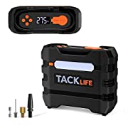 #LightningDeal TACKLIFE Portable Tire Inflator Air Compressor, 12V Mini Electric Pump with Overheating Protection, LCD Display, LED Light, 3 Nozzles and Spare Fuse