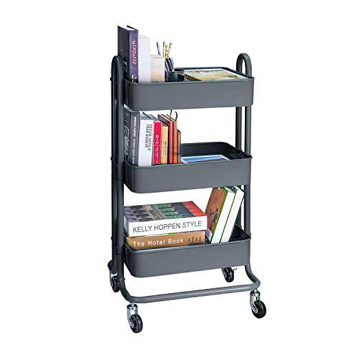 3-Tier Metal Rolling Utility Cart Heavy Duty Mobile Storage Organizer Craft Cart, Dark ()