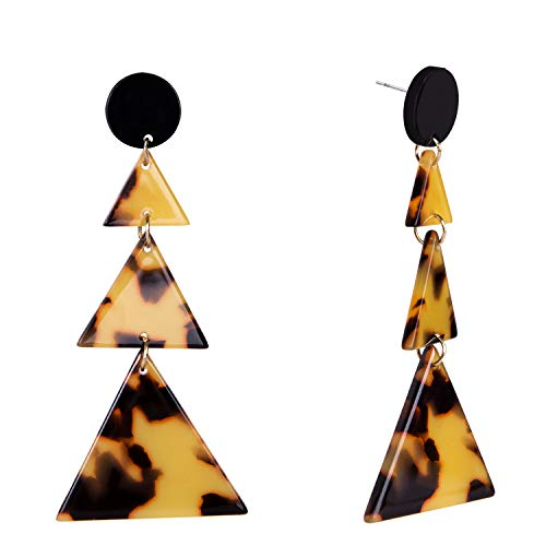 (SILVERAL Dangle Earrings Geometric Three Linked Triangles Resin Acrylic Earrings Fashion Jewelry for Women(Fashion)