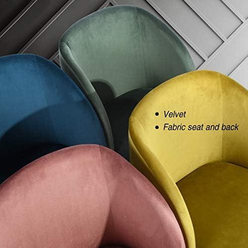 MEUBLE COSY Lot de 2 Fauteuil Chaise de Salle à Manger Velours Rose Chaise de Bureau Ergonomique Pieds Métal avec Finition en Bois , rose /53.5x59x82cm