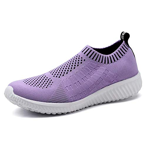 KONHILL Women's Lightweight Walking Shoes - Athletic Breathable Mesh Running Slip-on Sneakers, Purple, 35