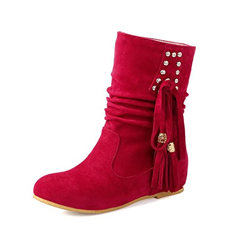 Allhqfashion Women's Low-top Pull-on Frosted Low-Heels Round Closed Toe Boots Red Jjp4wDa7Yr