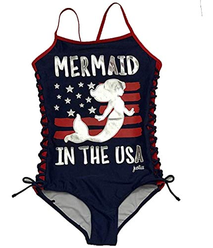 Justice Girls Swimwear one Piece Mermaid in The USA Navy