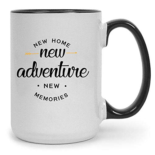 New Home 15 oz Ceramic Coffee Mug | Premium House Warming Party Present Lettered Tea Cup | First Time Home Owner Gifts for Men, Women | Home, Office, Kitchen - Present Small
