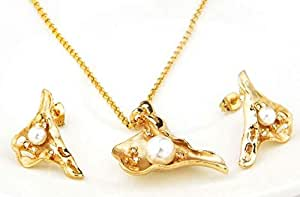 18k Real Gold Plated Austrian Swarovski Rhinestone with Pearl Beads Pendant Mussel Shape Jewelry Set