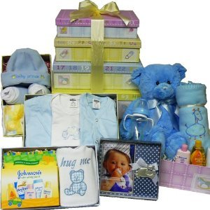 Art of Appreciation Gift Baskets Welcome Little One New Baby Layette Gift Tower, Boy (New Baby Basket)