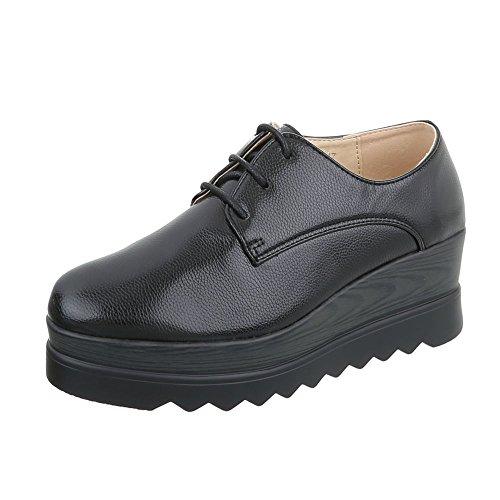 Ital-Design Zapatos Para Mujer Mocasines Plano Zapatos con Cordones Negro 825-E1