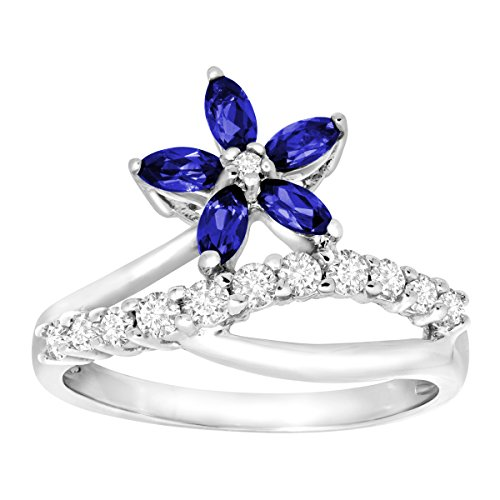 Sapphire White Flower Ring (1 ct Created Blue & White Sapphire Flower Ring in 10K White Gold Size 7)