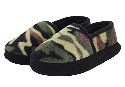 Boy/Little Kid Winter Warm Cozy Camouflage Comfy Plush Indoor Slip-on Slippers with Hard Sole