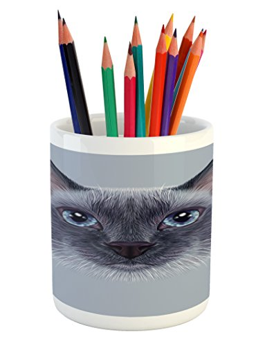 Ambesonne Animal Pencil Pen Holder, Portrait Image of Thai Siamese Cat with Retro Style Lettering Artwork, Printed Ceramic Pencil Pen Holder for Desk Office Accessory, White Sky Blue and Grey by Ambesonne
