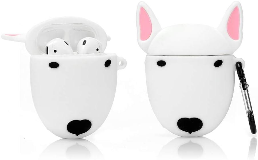 LEWOTE Airpods Silicona Divertida Funda Compatible con Apple Airpods 1 y 2 [Serie de Mascotas Animales] Niñas y Niños (Perro Bull Terrier)