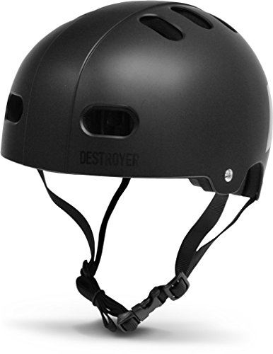 Blk Xl Helmet - DESTROYER Skateboard and Bike Certified Helmet with Custom Fit Pads (Large/X-Large - Adults, Black)