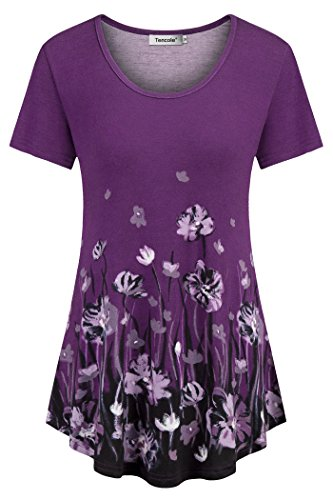 Tencole Boho Tops for Women Cotton, Tunic Short Sleeve Shirts to Wear with Leggings Tunic Blouses Women for Office Purple L