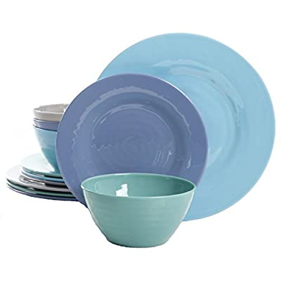Gibson Overseas, Inc. Brist 12-Piece Dinnerware Set Break & Chip-Resistant Melamine Plates & Bowls Indoor/Outdoor Blue - Made of durable, chip resistant melamine Comes in four assorted colors for mix and match opportunities Dishwasher safe (top rack) - kitchen-tabletop, kitchen-dining-room, dinnerware-sets - 410T5B0mR3L. SS400  -