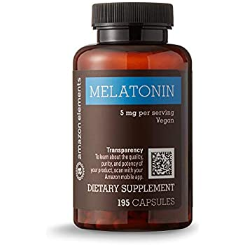 Amazon Elements Melatonin 5mg, Vegan, 195 Capsules, 6 month supply