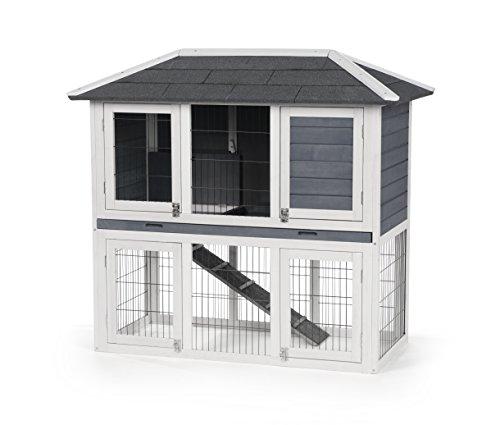 Prevue Pet Products 4601 Duplex Rabbit Hutch, Gray/White