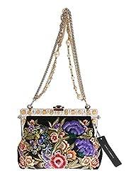 Multicolor VANDA Floral Crystal Snakeskin Bag