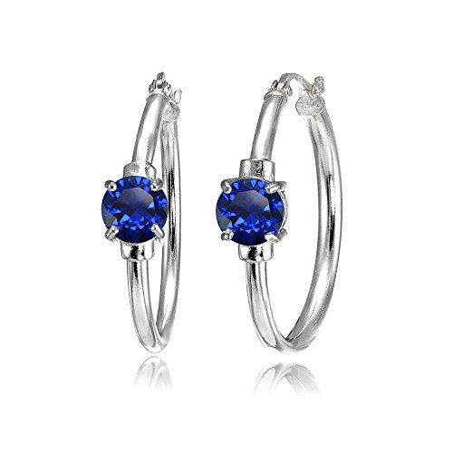 Sterling Silver Created Blue Sapphire Solitaire 25mm Hoop Earrings